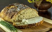image of home-made bread  - home made bread and butter on wood table - JPG