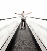 picture of escalator  - Concept of Easy way to success with businessman and escalator - JPG