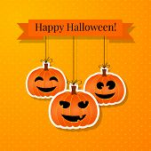 Halloween Background With Smiling Pumpkins