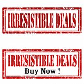 pic of irresistible  - Set of grunge rubber stamps with text Irresistible Deals - JPG