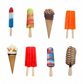 stock photo of popsicle  - Sweet Ice Cream and Popsicles dessert food isolated  - JPG