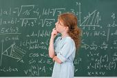 Thoughtful Young Girl In Mathematics Class