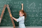 Young Girl Genius In Maths Class