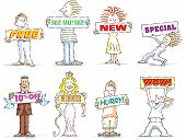 stock photo of frazzled  - Cartoon Characters holding info graphic banners for retail advertising - JPG