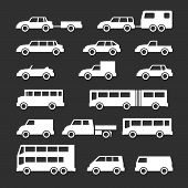 Set Icons Of Car And Bus