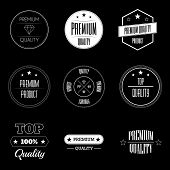Set of vintage product quality labels - premium and top quality