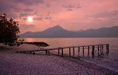 Garda Lake Beach In Romantic Moonlight Scenery