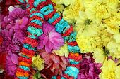 Flowers and garlands for sale at the flower market in the shadow of the Haora Bridge in Kolkata, Wes