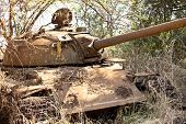 stock photo of north sudan  - destroyed northern Sudanese tank from civil war in South Sudan - JPG