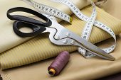 Thread Spools, Measuring Tapes And Scissors