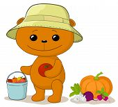 Teddy bear gardener with vegetables
