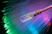 network cable with high tech technology color background