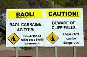 Beware Of Cliff Falls Warning Sign