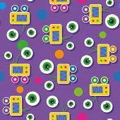 cute big-eyed robots pattern