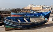 Blue boat in Essaouira, old Portuguese city in Morocco