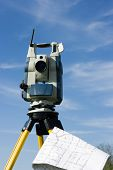 Theodolite And A Map