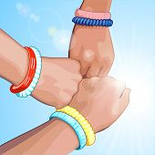 Three Fists On A Blue Background