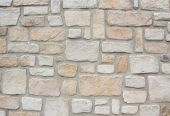 Wall Construction Of Natural Sand Stones, Light Grey And Beige