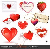 stock photo of san valentine  - set of detailed heart design elements  - JPG