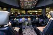 HONG KONG, CHINA - MAY 16, 2014: Emirates Airbus A380 aircraft interior on May 16, 2014. Emirates is