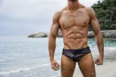 Strong Muscular Fit Man Posing In A Swimsuit
