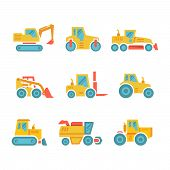 Set Modern Flat Icons Of Tractors, Farm And Buildings Machines, Construction Vehicles