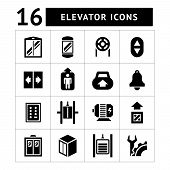 foto of elevators  - Set icons of elevator and lift isolated on white - JPG