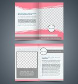 Empty bifold brochure template design with pink color