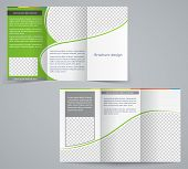 Tri-fold Business Brochure Template, Vector Green Design Flyer