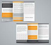 Tri-fold Business Brochure Template, Vector Orange Design Flyer