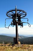 view on a free lift in the mountains, Jeseniky, Czech Republic