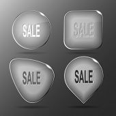Sale. Glass buttons. Vector illustration.
