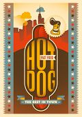 Retro poster with hot dog. Vector illustration.