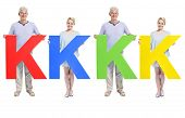 stock photo of letter k  - People holding letter  - JPG