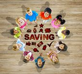 Multiethnic Group of Children with Saving Concept