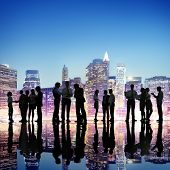 Group of Business People Working Outdoors
