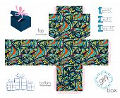 Printable Gift Box With Abstract Crazy Pattern