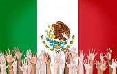 Group of Multi-Ethnic Arms Raised and a Flag of Mexico as a Background