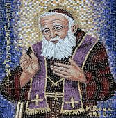 HERCEG NOVI, MONTENEGRO - JUNE 07: Mosaic with St Leopold Mandic on the facade of the church of St. Leopold Mandic in Herceg Novi, Montenegro, on June 07, 2012
