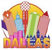 Dallas City Skyline Color Circle Illustration