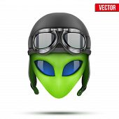 Green Alien head in aviator helmet.. Vector.
