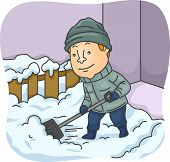 pic of snow shovel  - Illustration of a Man Shoveling Snow - JPG