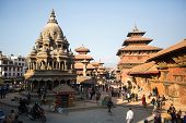 KATHMANDU, NEPAL - DEC 5, 2013: View of the Patan Durbar Square - it is one of the 3 royal cities in