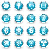 glossy circle web icons set on white background