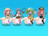 picture of shepherdess  - Cute shepherdess cartoons ride on a sheep - JPG