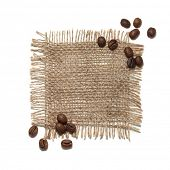 Coffee beans on a piece of jute