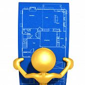 Gold Guy Looking At Home Construction Blueprints