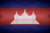 Closeup Screen Cambodia Flag Concept On Pvc Leather For Background