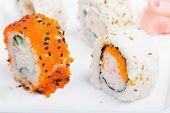 Orange and white shushi rolls