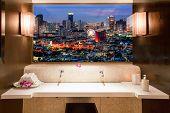 Bangkok Cityscape. View Through Window In Room